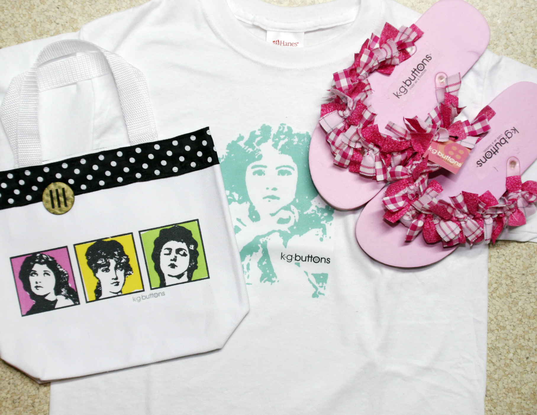 kgbuttons shirt, hand bag, shoe design